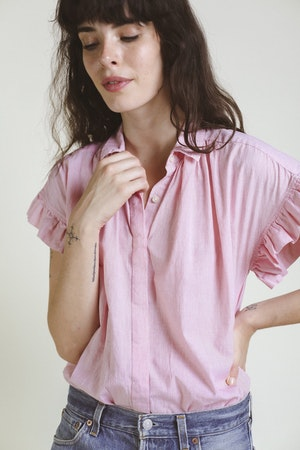 Marianne Ruffle Shirt RED MICRO STRIPE by Trovata - 3