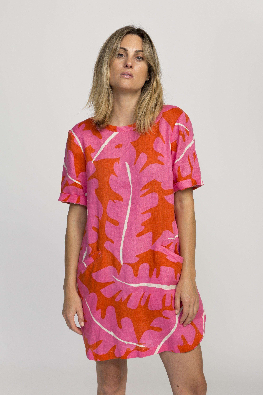 Raffi shirt dress PINK PALM PRINT by Trovata - 2