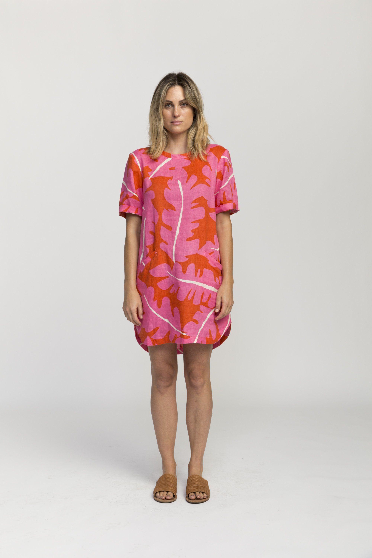 Raffi shirt dress PINK PALM PRINT by Trovata - 3