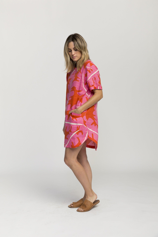 Raffi shirt dress PINK PALM PRINT by Trovata - 4