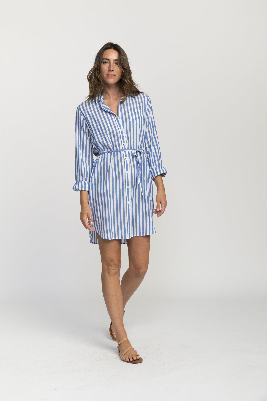 Rowene classic short shirtdress BLUE STRIPE by Trovata - 1
