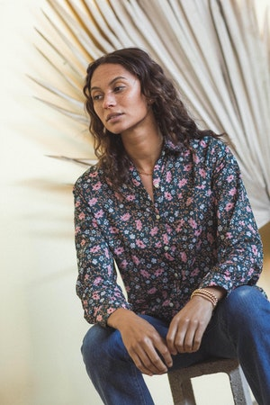 Grace Classic Shirt TEAL FLORAL by Trovata - 2