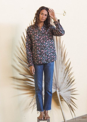 Grace Classic Shirt TEAL FLORAL by Trovata - 3