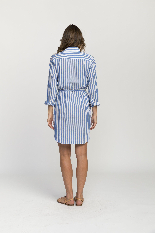 Rowene classic short shirtdress BLUE STRIPE by Trovata - 2