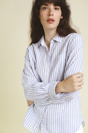 Grace Classic Shirt WHITE/BLUE STRIPE by Trovata - 3