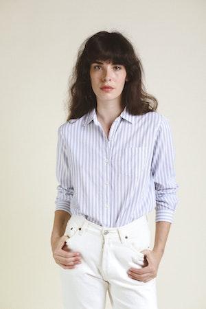 Grace Classic Shirt WHITE/BLUE STRIPE by Trovata - 2