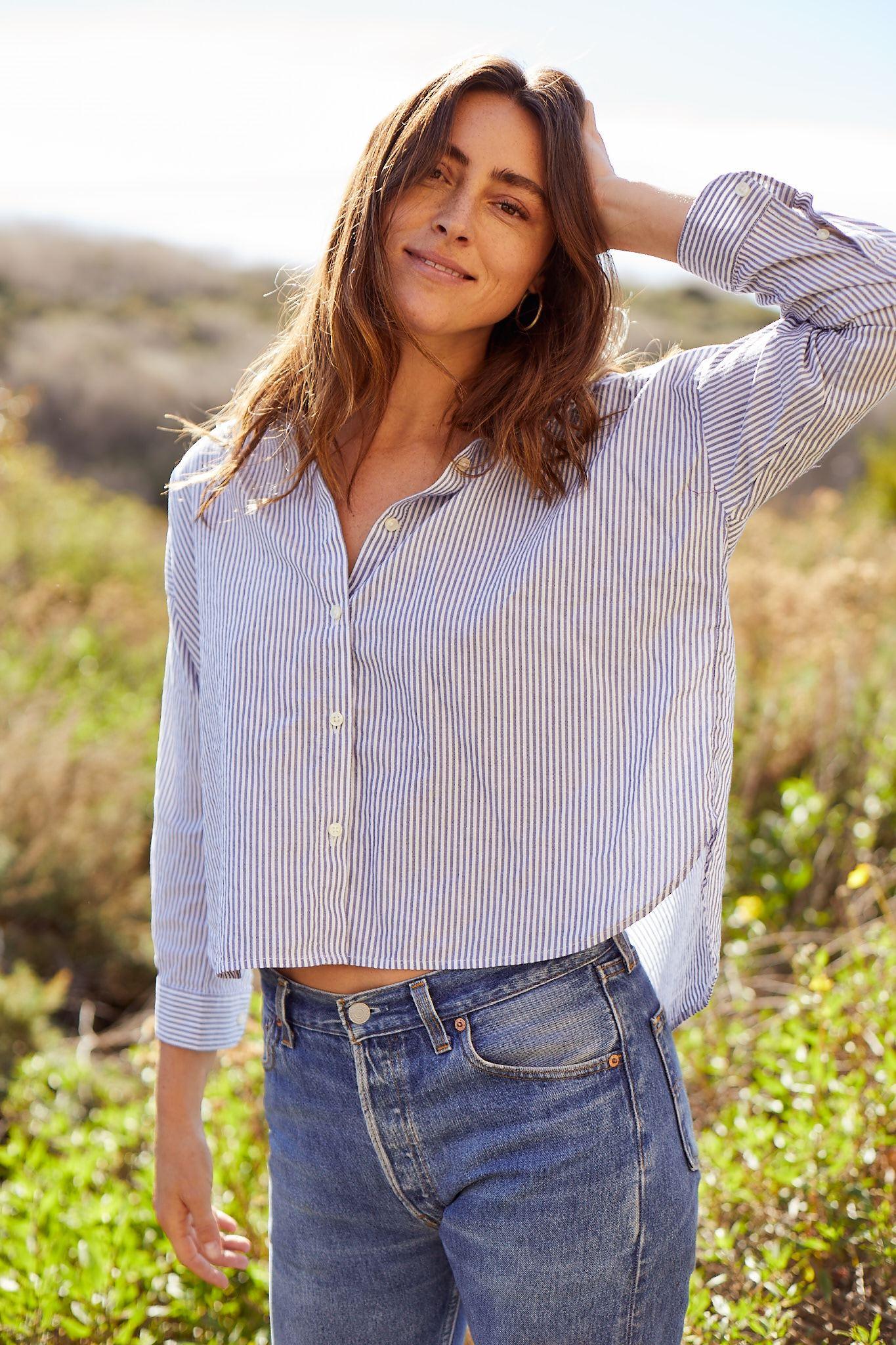 Sasha Oversize Shirt MARINERS STRIPE by Trovata - 4
