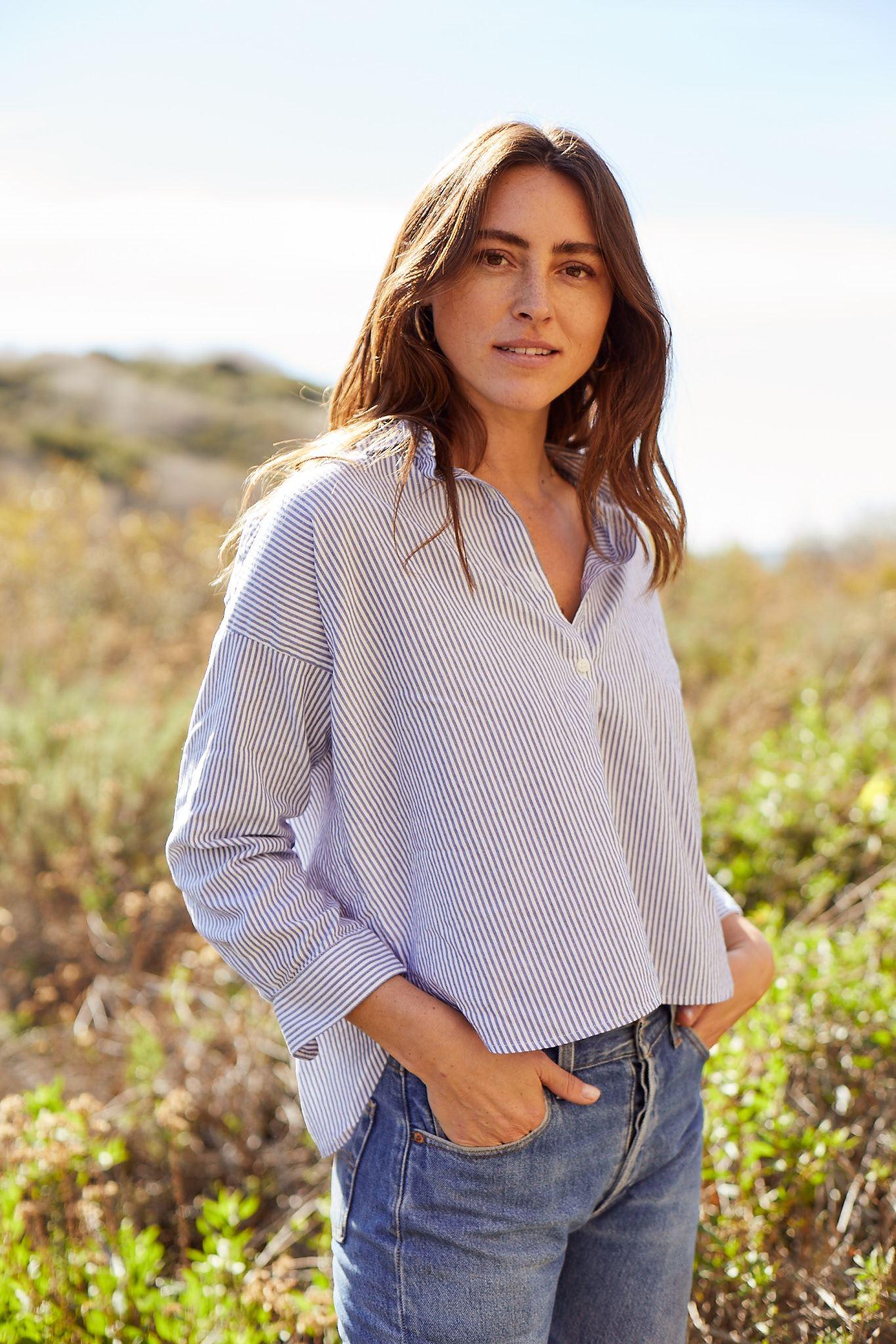 Sasha Oversize Shirt MARINERS STRIPE by Trovata - 3