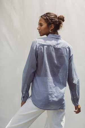 Grace Classic Shirt BLUE HOUNDSTOOTH by Trovata - 2