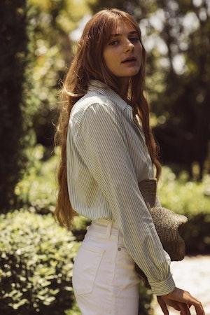 Grace Classic Shirt GREEN PINSTRIPE by Trovata - 2