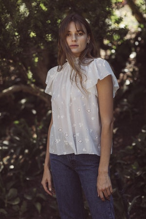 Carla Highneck Shirt WHITE EMBROIDERY by Trovata - 1