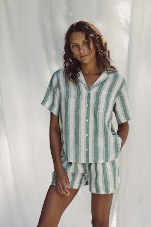 Margot S/S Camp Shirt GREEN AWNING STRIPE by Trovata - 1