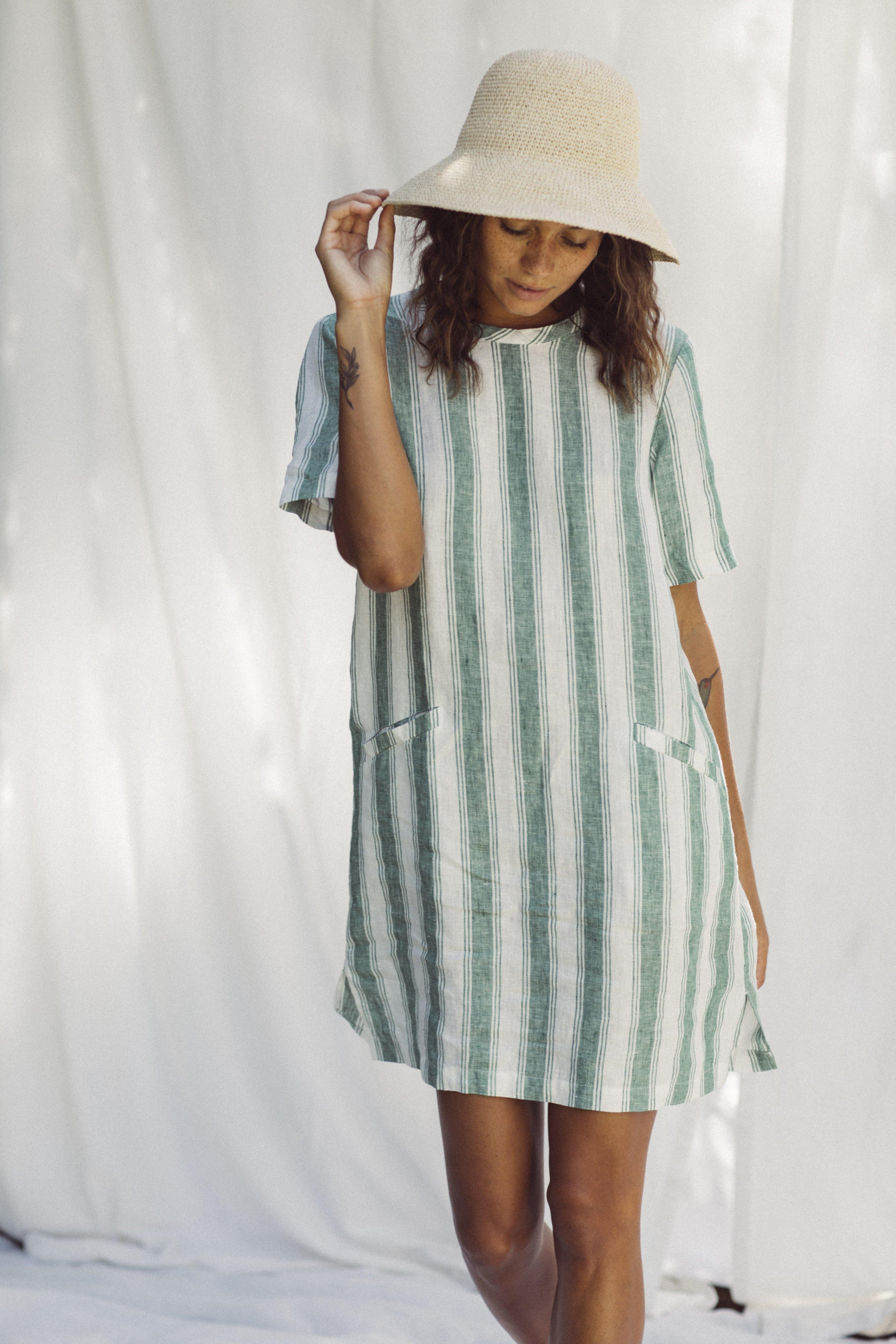 Raffiel Dress GREEN AWNING STRIPE by Trovata - 1