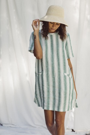 Raffiel Dress GREEN AWNING STRIPE by Trovata - 2