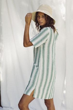 Raffiel Dress GREEN AWNING STRIPE by Trovata - 3