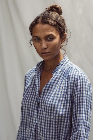 Sara B Henley Shirt COBALT GINGHAM by Trovata - 4