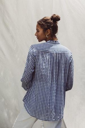 Sara B Henley Shirt COBALT GINGHAM by Trovata - 2