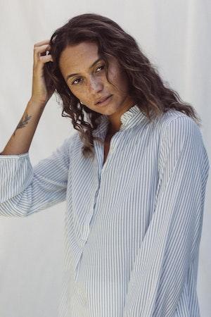 Sara B Henley Shirt BLUE PINSTRIPE by Trovata - 1