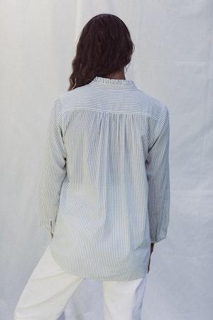 Sara B Henley Shirt BLUE PINSTRIPE by Trovata - 2
