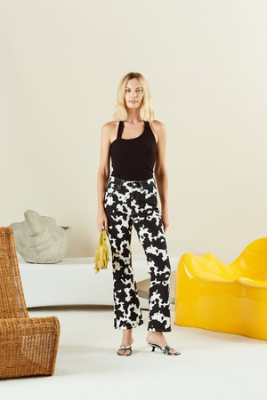 Cropped Bell Jean in Cow Print by Simon Miller - 2