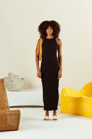 RIB LANI DRESS IN BLACK by Simon Miller - 2