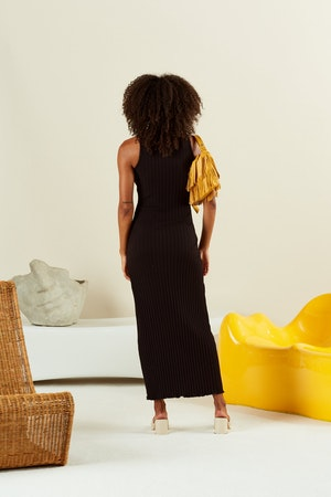 RIB LANI DRESS IN BLACK by Simon Miller - 3