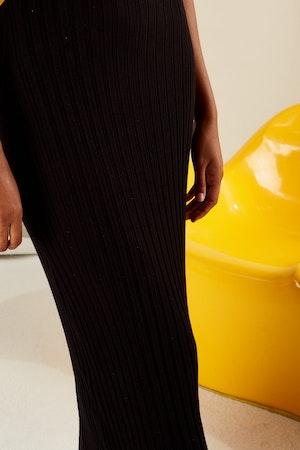 RIB LANI DRESS IN BLACK by Simon Miller - 4