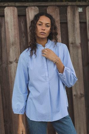 Sara B Henley Shirt BLUE/WHITE STRIPE by Trovata - 1