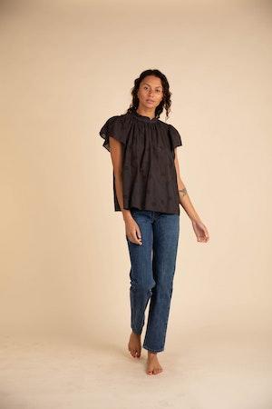 Carla Highneck Shirt BLACK EMBROIDERY by Trovata - 1