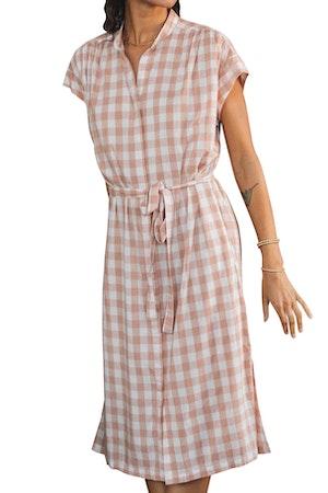 Astrid Easy Dress BLUSH CHECK by Trovata - 1