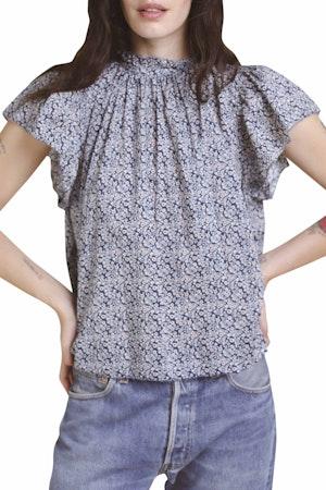 Carla Highneck Shirt NAVY FLORAL by Trovata - 1