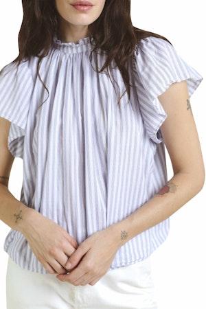 Carla Highneck Shirt WHITE/BLUE STRIPE by Trovata - 1