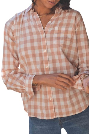 Grace Classic Shirt BLUSH CHECK by Trovata - 1