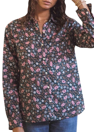 Grace Classic Shirt TEAL FLORAL by Trovata - 1