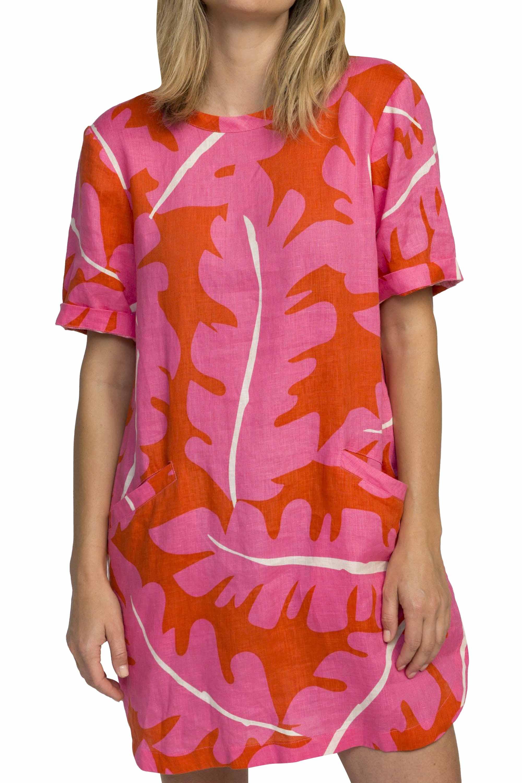 Raffi shirt dress PINK PALM PRINT by Trovata - 1