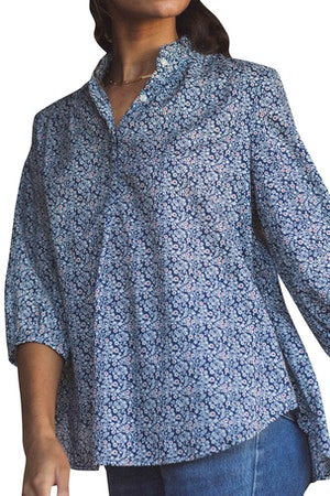 Sara Henley Shirt NAVY FLORAL by Trovata - 1