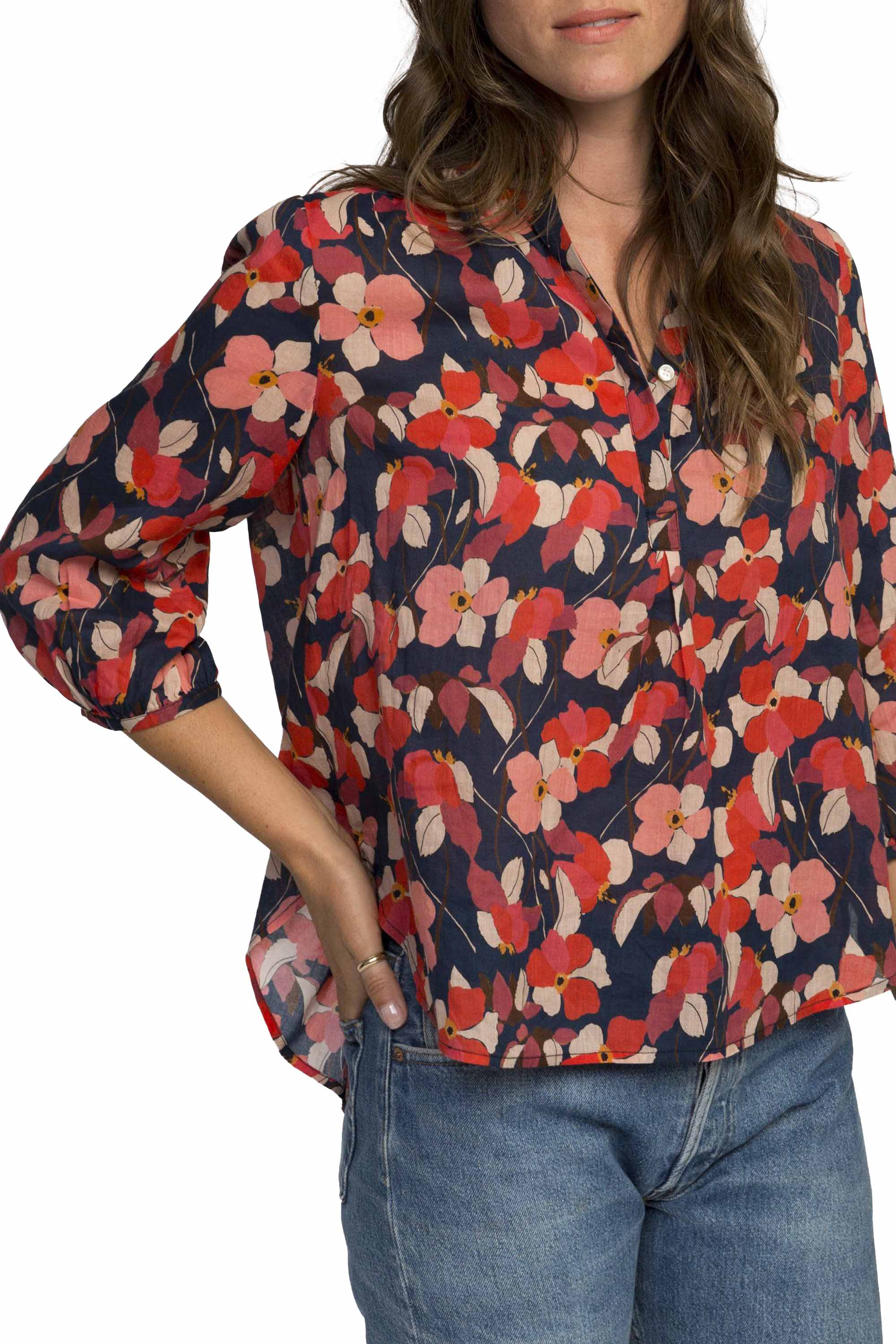 Sara henley shirt NAVY RED FLORAL by Trovata - 1