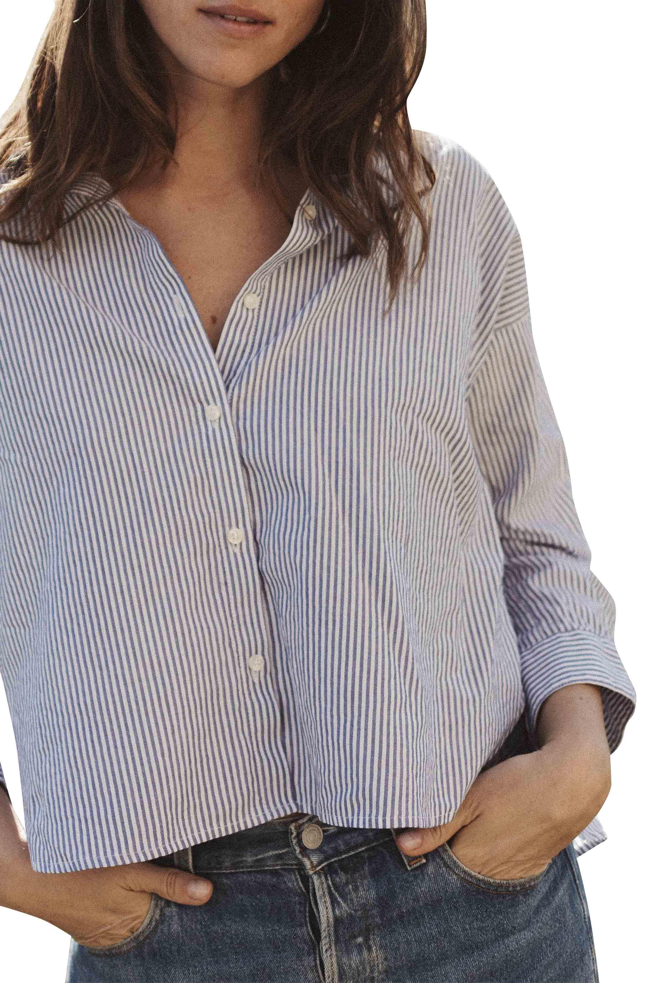 Sasha Oversize Shirt MARINERS STRIPE by Trovata - 1