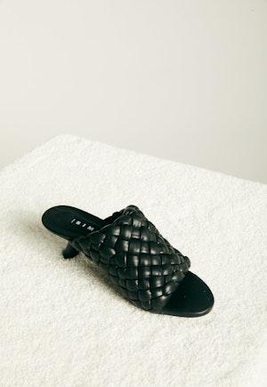 Vegan Woven Tee Heel in Black by Simon Miller - 2