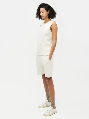 Essential Knit Shorts White by Vaara - 3
