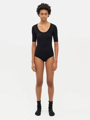 Technical Knit Short Sleeve Bodysuit Black by Vaara - 1