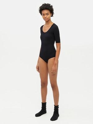 Technical Knit Short Sleeve Bodysuit Black by Vaara - 2