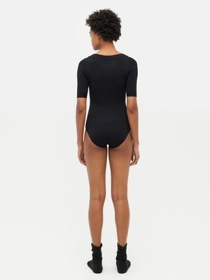 Technical Knit Short Sleeve Bodysuit Black by Vaara - 4