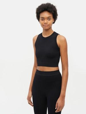 Technical Knit Crop Top Black by Vaara - 4