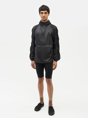 Unisex Ruched Short Anorak Black by Vaara - 1