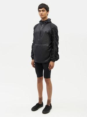 Unisex Ruched Short Anorak Black by Vaara - 4