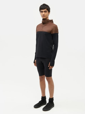 Hooded Bicolour Top Black by Vaara - 4