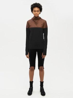 Hooded Bicolour Top Black by Vaara - 1