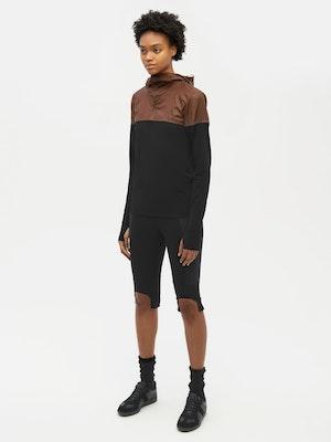 Hooded Bicolour Top Black by Vaara - 2