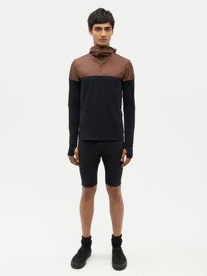 Hooded Bicolour Top Black by Vaara - 3